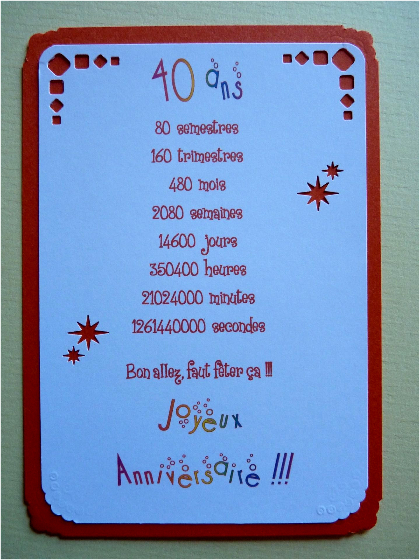Texte anniversaire 40 nas