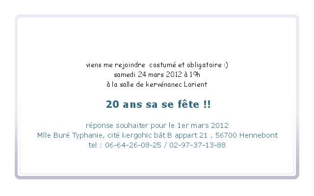 Carte d'invitation pour anniversaire 20 ans