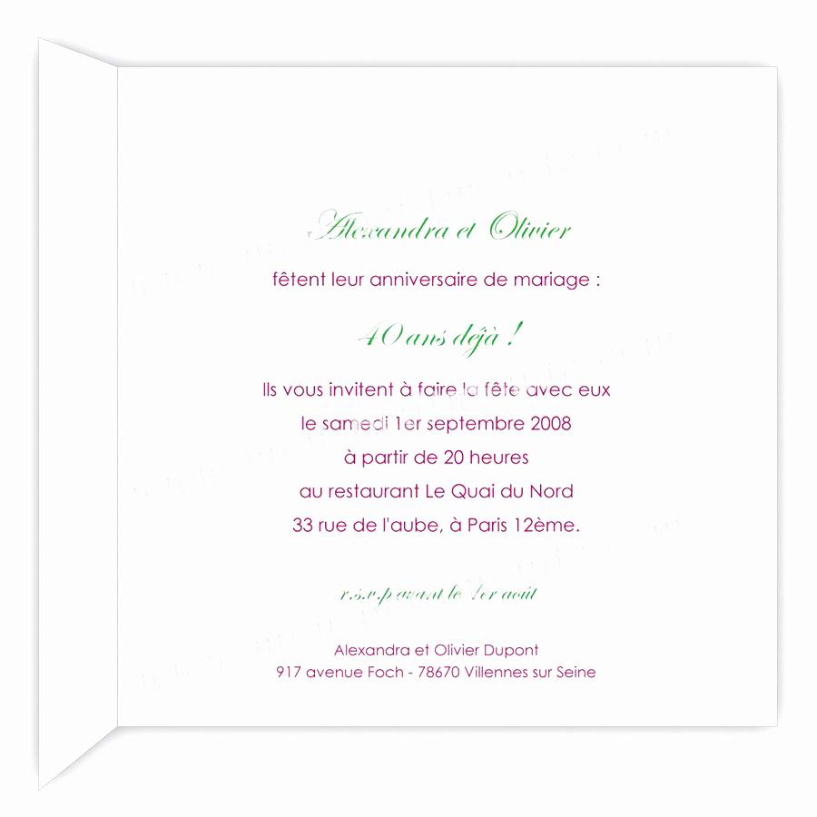 Carte invitation anniversaire 40 ans de mariage