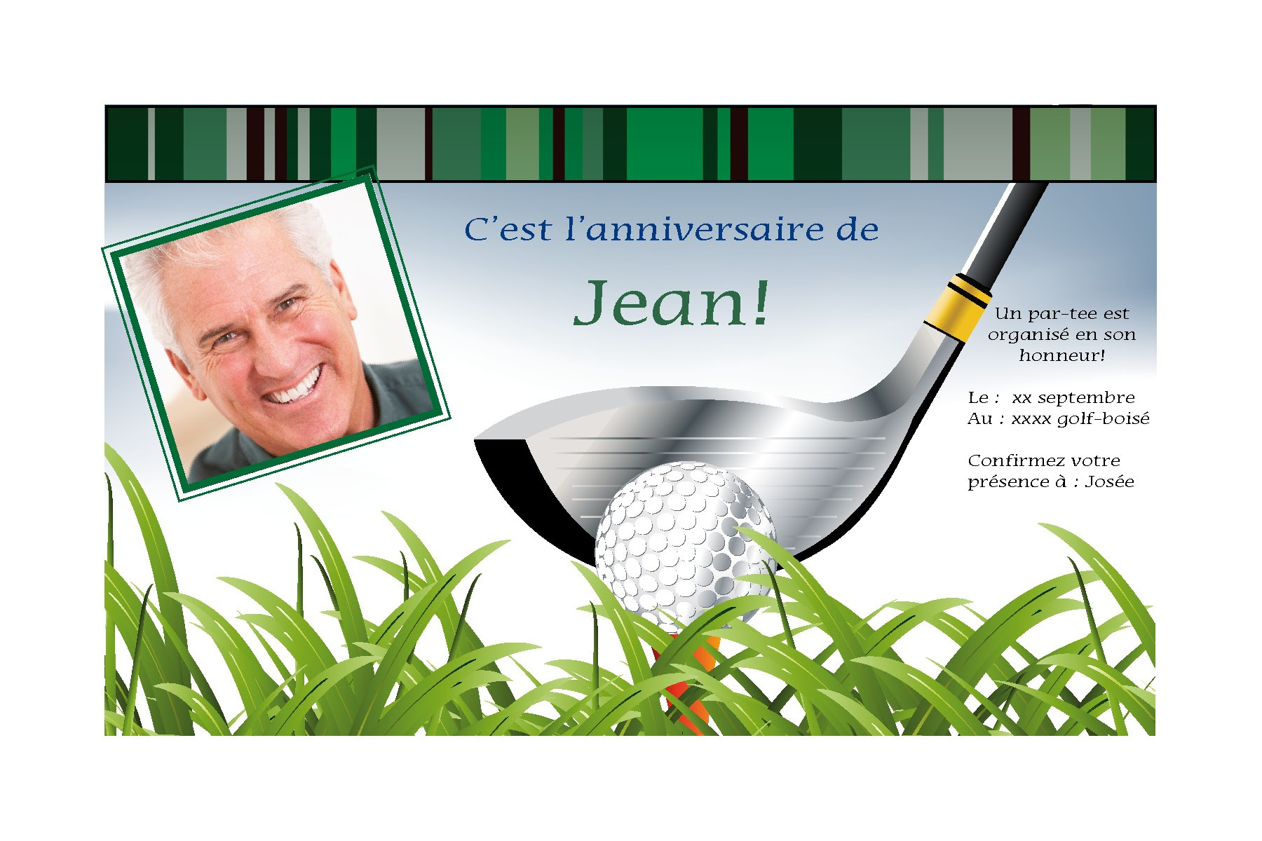 Carte anniversaire golf