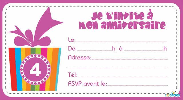 Carte Invitation Anniversaire Fille 4 Ans Elevagequalitetouraine