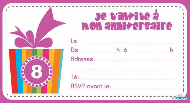 Carte invitation anniversaire 8 ans gratuite