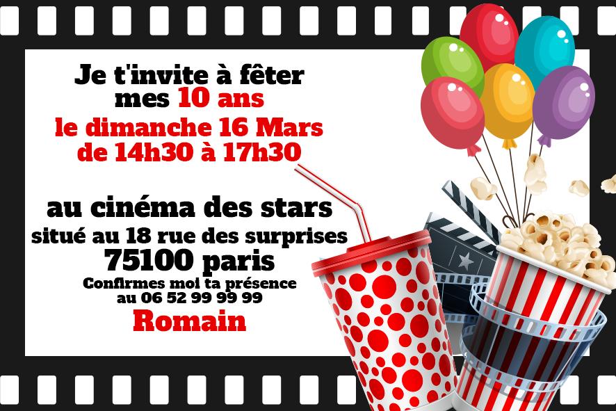 Carte anniversaire cinéma
