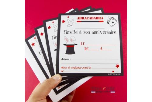 Carte invitation anniversaire theme magie