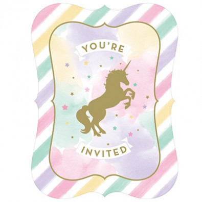 Carte d'invitation pour anniversaire licorne