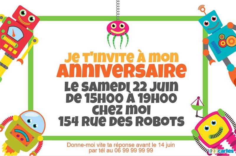 Carte anniversaire robot