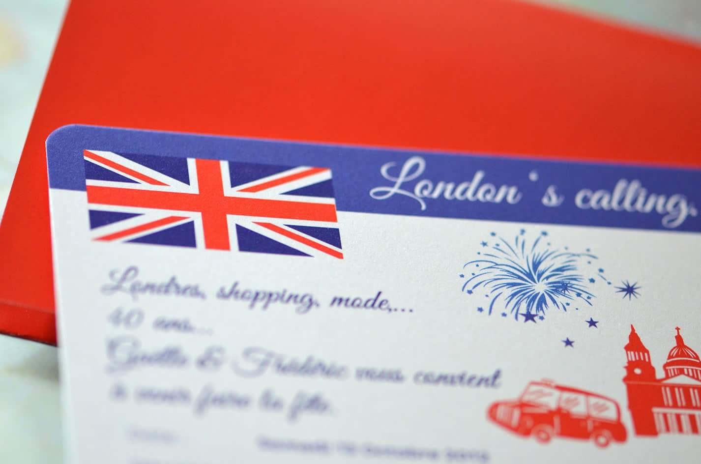 Carte invitation anniversaire theme london