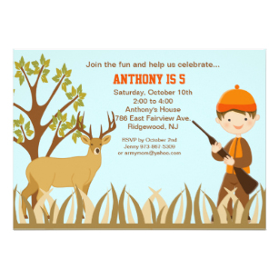 Carte d'invitation anniversaire theme chasse