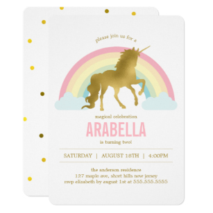 Carte invitation anniversaire licorne kawaii