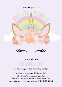 Carte invitation anniversaire fille licorne