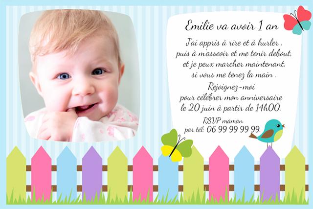 Carte invitation anniversaire bébé 1 an