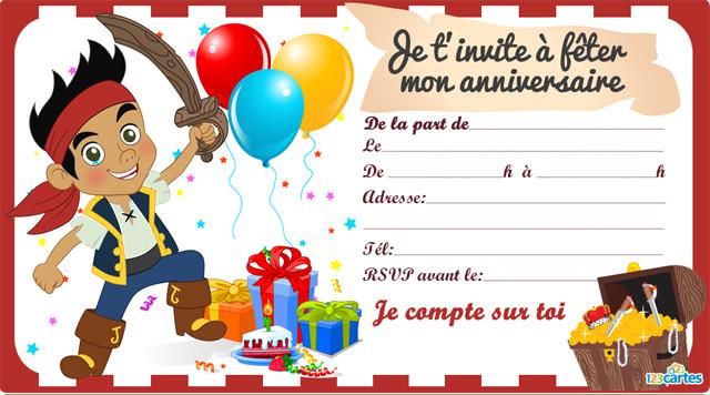 Carte d invitation anniversaire pirates