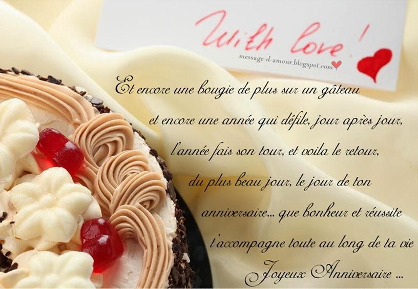 Message anniversaire et amour