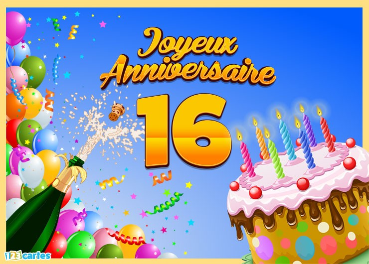 carte anniversaire 16 ans Carte anniversaire garcon 16 ans   Elevagequalitetouraine