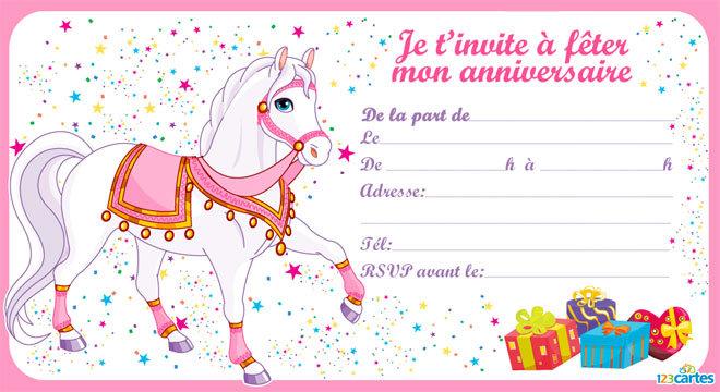 Carte d'invitation anniversaire gratuite à imprimer princesse