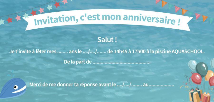 Carte anniversaire piscine party