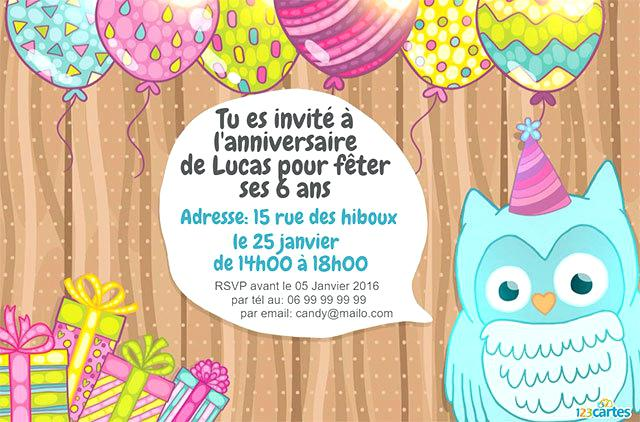 Carte invitation anniversaire elephant
