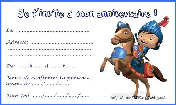 Carte invitation anniversaire chevalier gratuite à imprimer