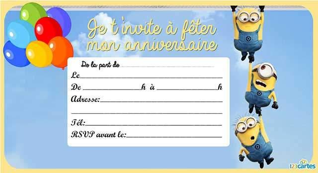 Carte invitation anniversaire 7 ans gratuite à imprimer