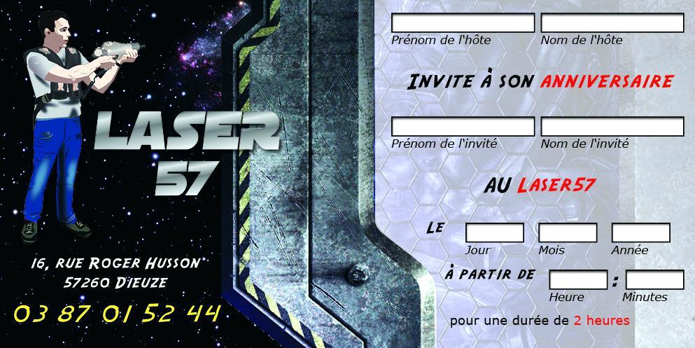 Carte invitation anniversaire a imprimer laser game