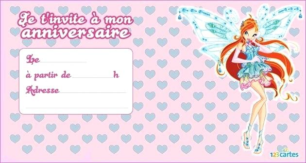 Carte invitation anniversaire winx
