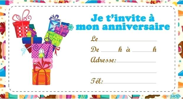 Carte invitation anniversaire imprimer gratuit