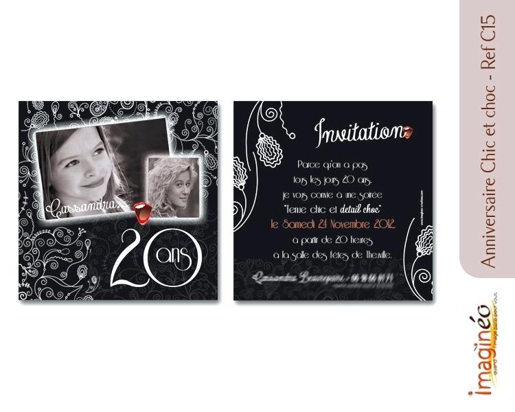 Modèle carte d'invitation anniversaire 20 ans gratuit