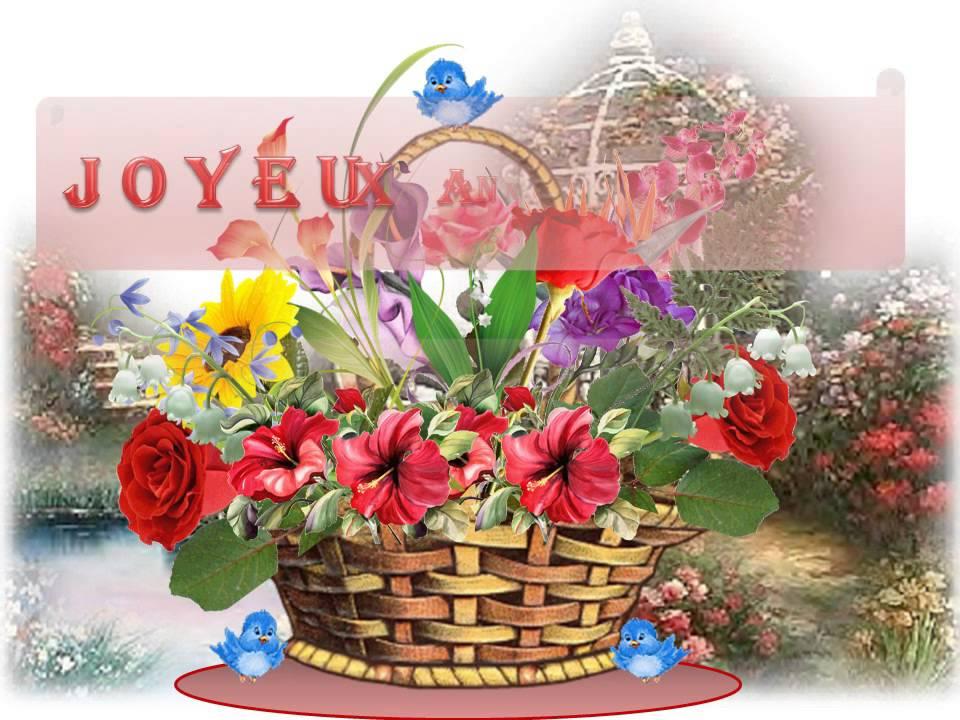 Carte anniversaire animée fleur