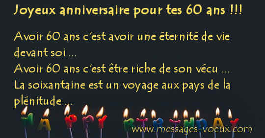 Exemple texte anniversaire 60 ans