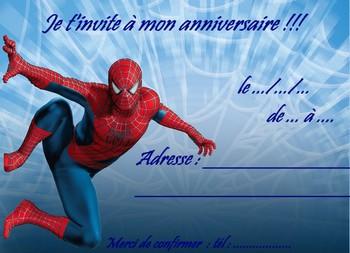 Carte invitation anniversaire spidermann
