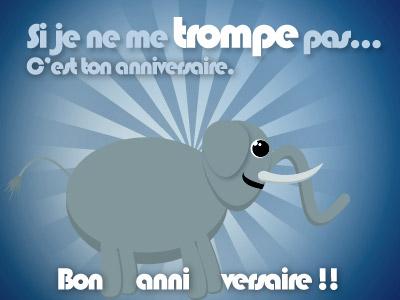 Carte anniversaire avec éléphant