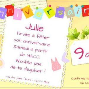 Modele carte anniversaire invitation enfants
