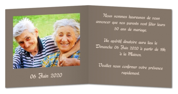 Carte d'invitation anniversaire 70
