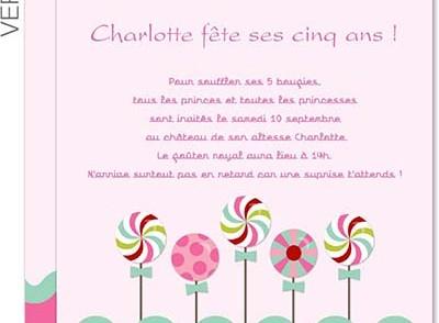 Modèle carte d'invitation anniversaire enfant