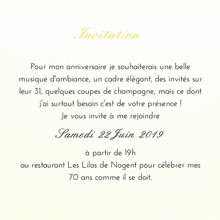 Exemple de texte d'invitation anniversaire 70 ans