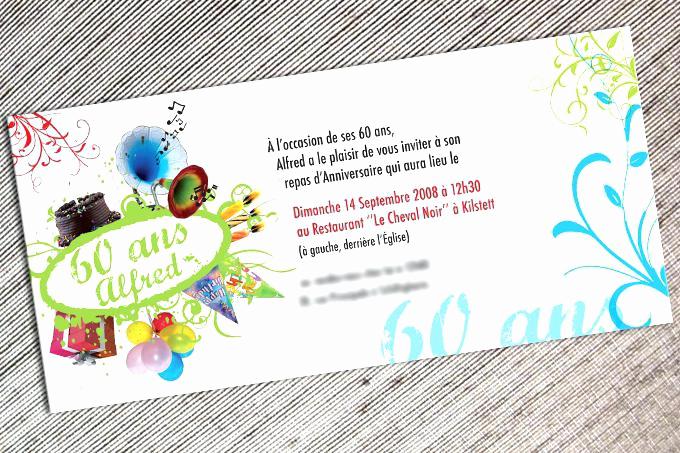 Exemple de carte d'invitation pour anniversaire 60 ans