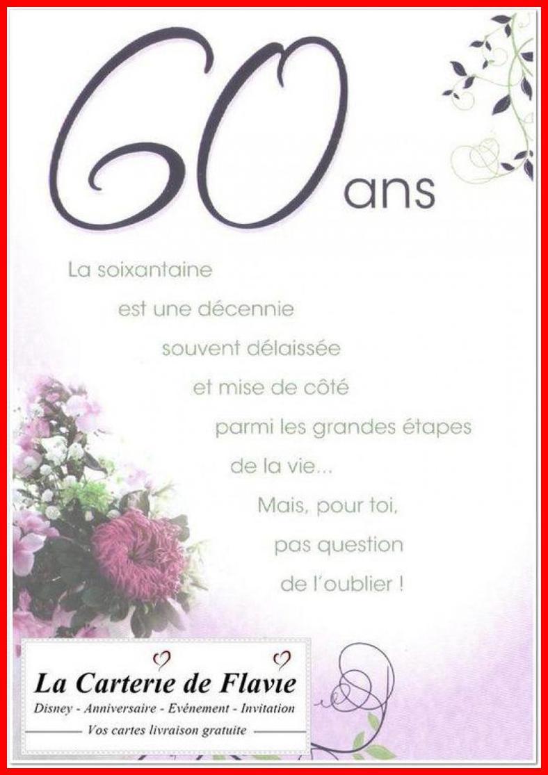 Texte pour anniversaire 60ans