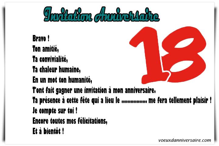 Texte pour carte d'invitation anniversaire 18 ans