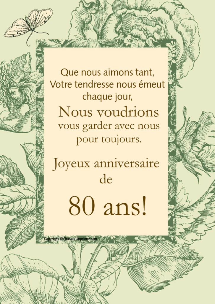 Message anniversaire homme 80 ans