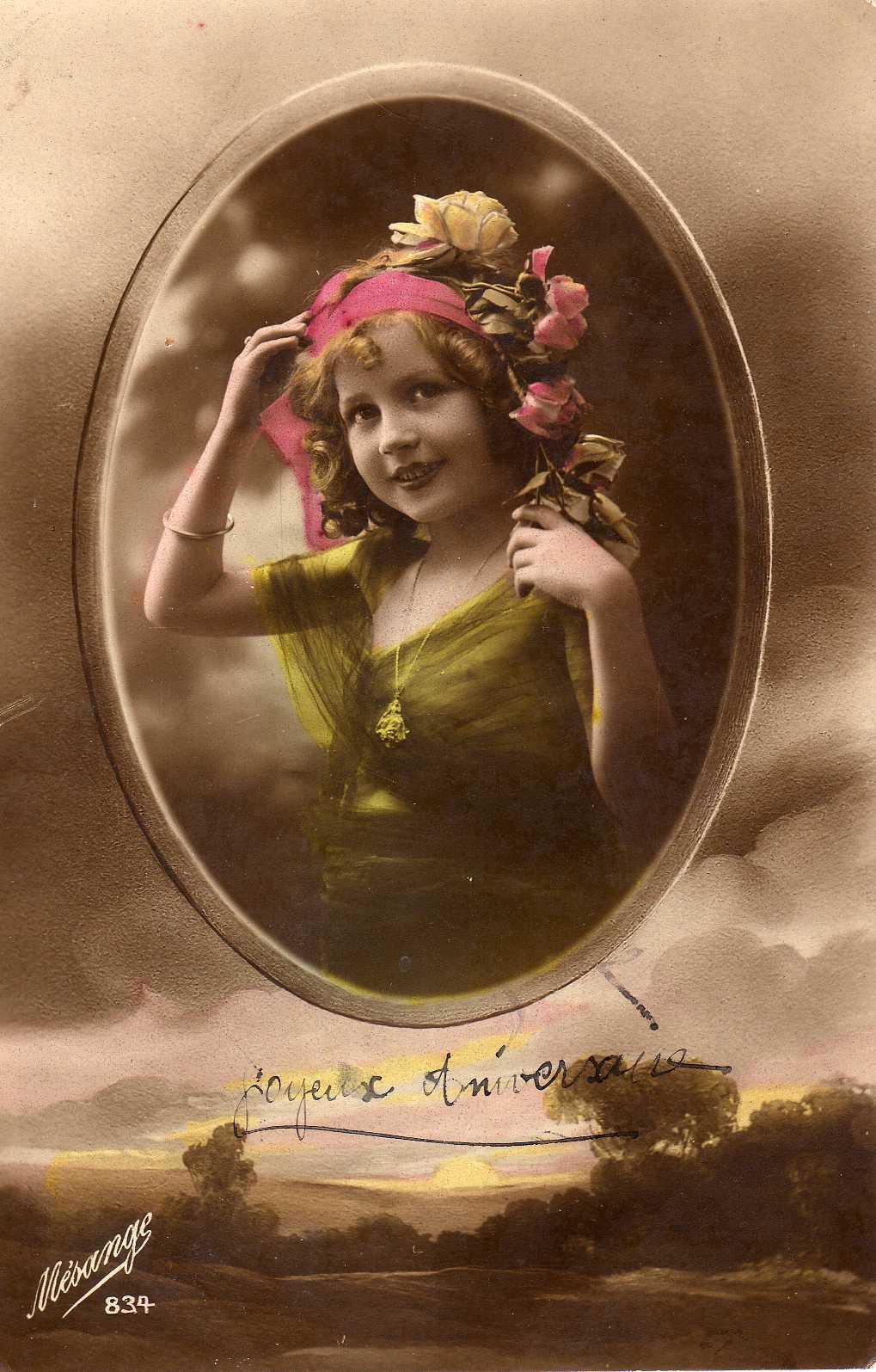 Carte postale anniversaire vintage