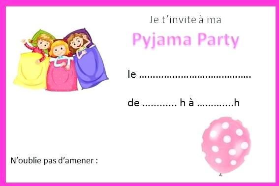 Carte invitation anniversaire soirée pyjama garçon