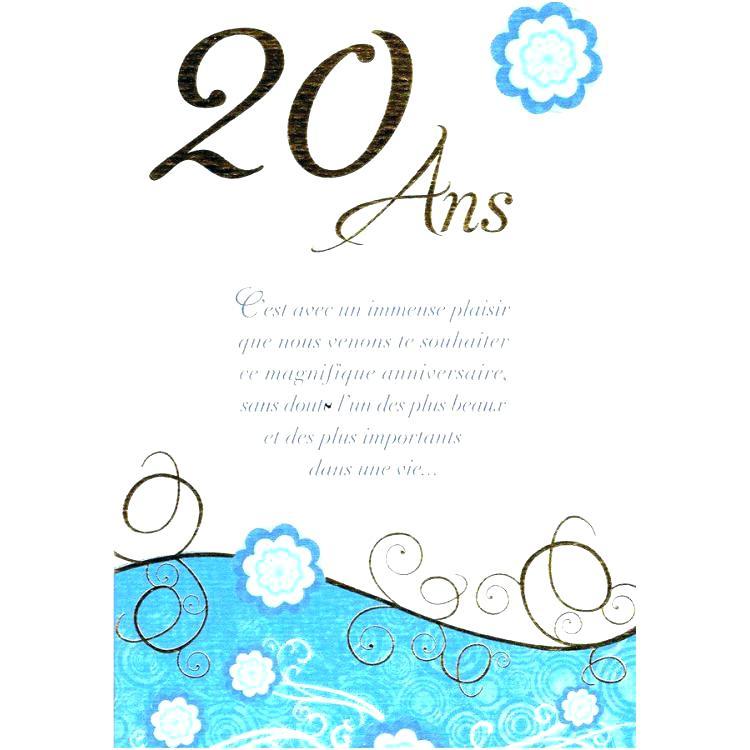 20 ans texte carte anniversaire