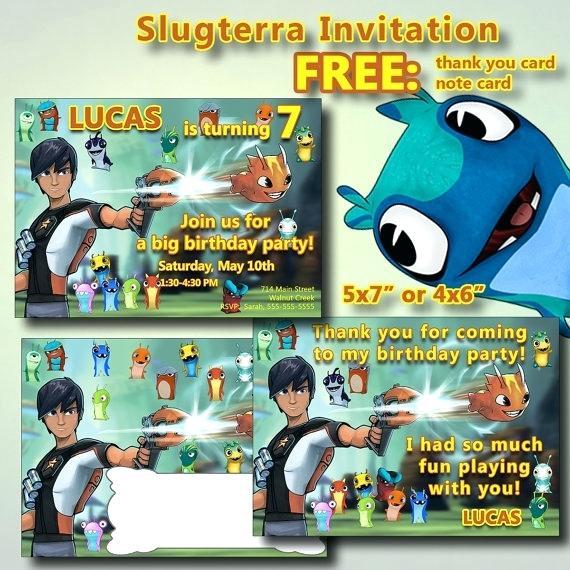 Carte d'invitation anniversaire slugterra