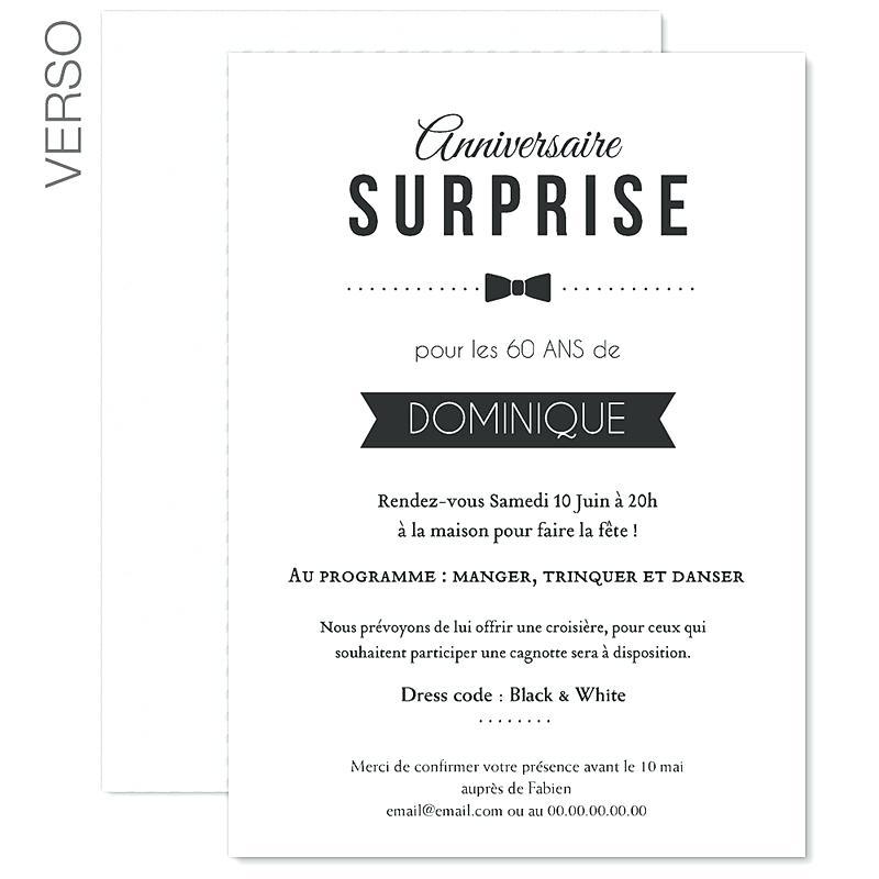 Carte invitation anniversaire surprise gratuite à imprimer adulte