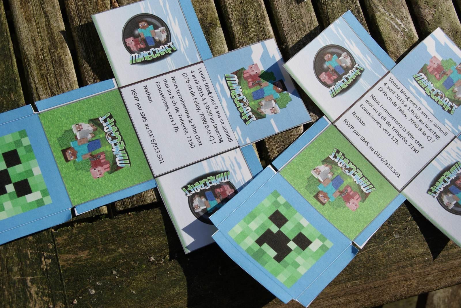 Carte d'invitation anniversaire gratuite à imprimer minecraft