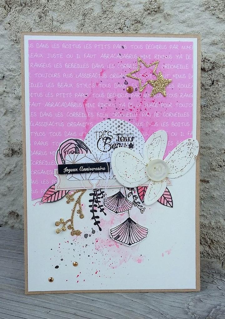 Carte anniversaire la vie en rose