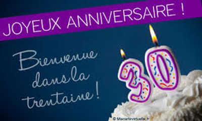 Texte félicitations anniversaire 30 ans