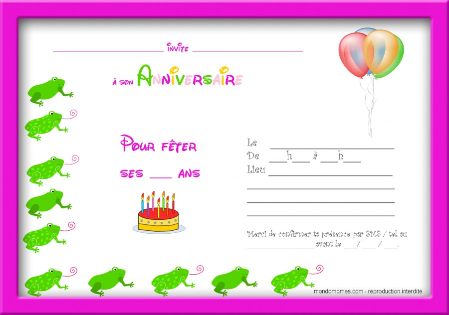 Carte d'invitation anniversaire a imprimer pour fille