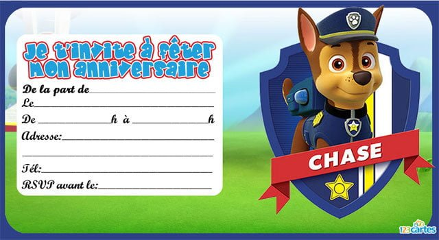 Carte anniversaire garçon gratuite à imprimer pat patrouille