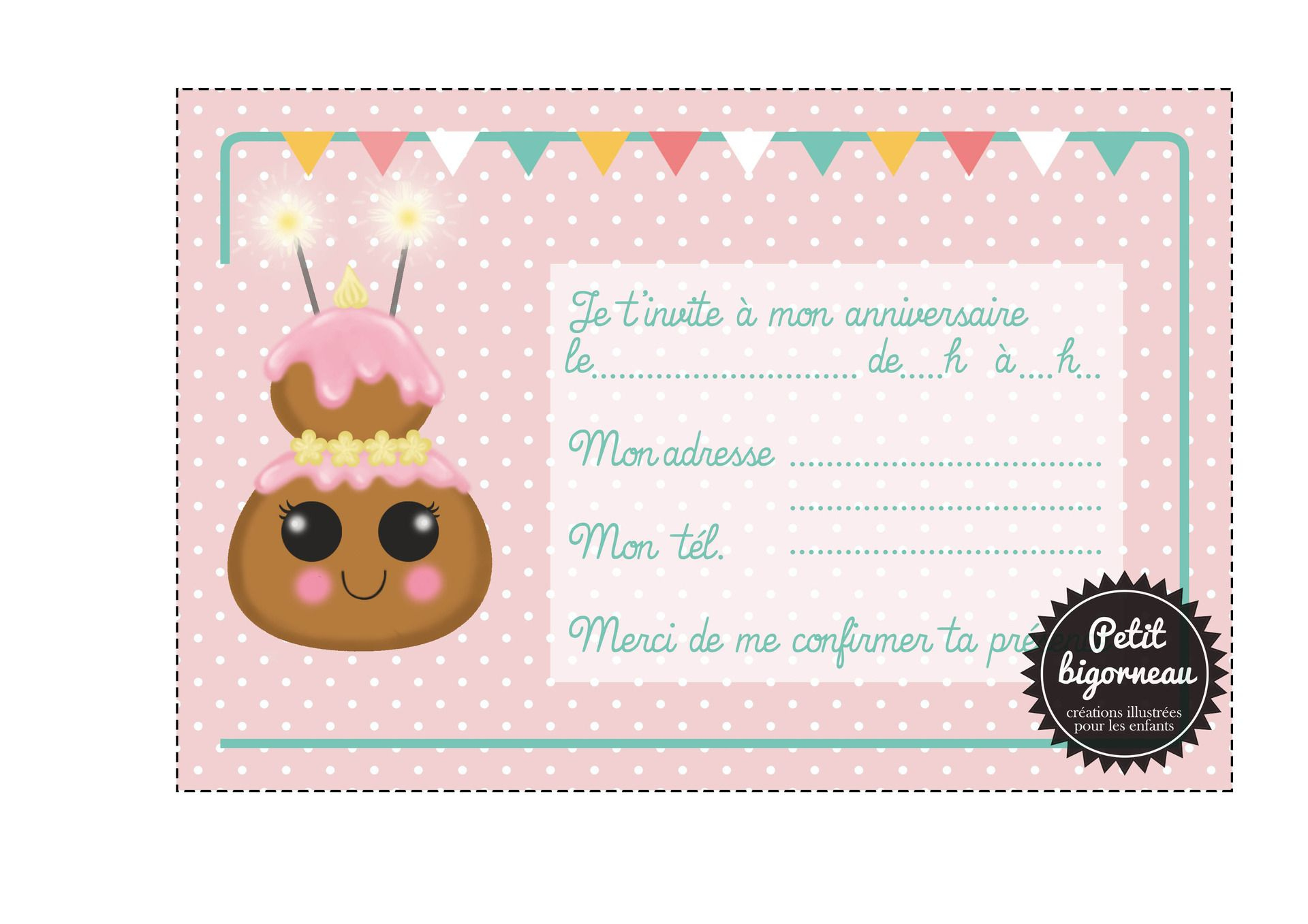 Carte anniversaire cupcake à imprimer